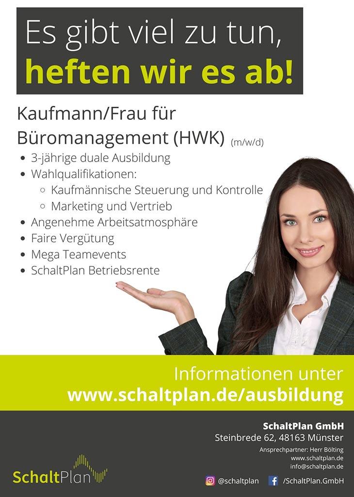 Job Kaufmann/Kauffrau für Büromanagement (HWK, m/w/d)